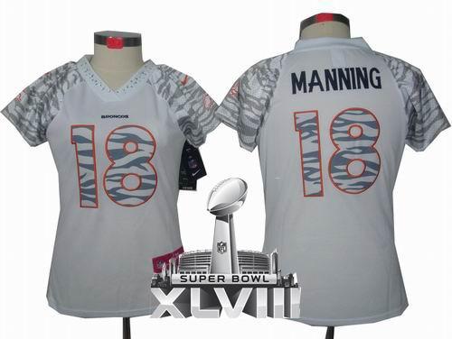 buy online e8cb6 6ef48 Women Nike Denver Broncos 18# Peyton Manning Zebra Field ...