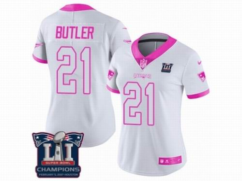6dd5a2b99 Women Nike New England Patriots #21 Malcolm Butler Limited White Pink Rush  Fashion Super Bowl