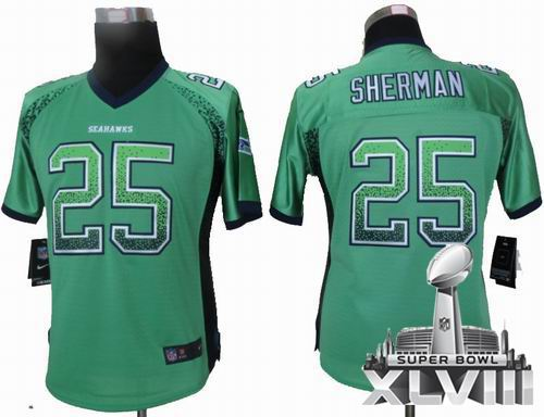 Women Nike Seattle Seahawks  25 Richard Sherman Green Elite Drift Fashion  2014 Super bowl XLVIII e2c62d54b