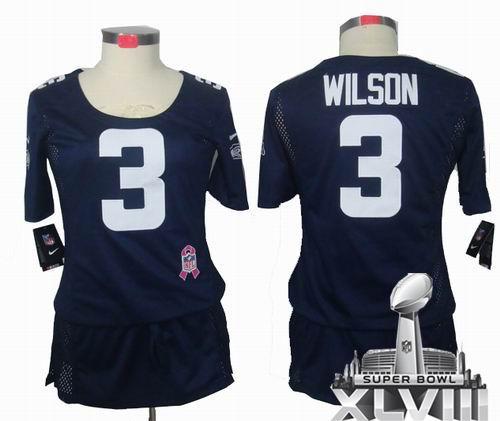 32e4cd0c99a Women Nike Seattle Seahawks 3# Russell Wilson Elite breast Cancer Awareness  blue 2014 Super bowl