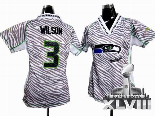 e8728afbd8d Women Nike Seattle Seahawks 3# Russell Wilson Zebra Field Flirt Fashion  2014 Super bowl XLVIII(GYM) Jersey