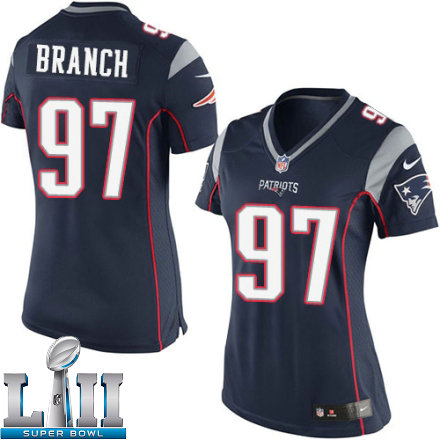 39c1950e64c Womens Nike New England Patriots Super Bowl LII 97 Alan Branch Elite Navy  Blue Team Color