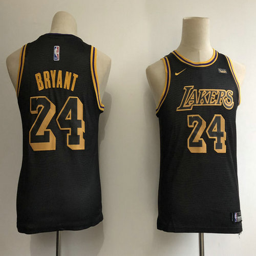 3ae2eed6386 Youth Lakers 24 Kobe Bryant Black 2018-19 City Edition Youth Nike Swingman  Jersey