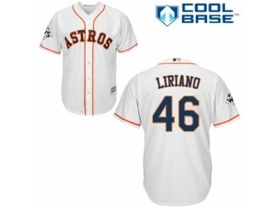 44571d3f9 Youth Majestic Houston Astros #46 Francisco Liriano Authentic White Home  2017 World Series Bound Cool Base MLB Jersey