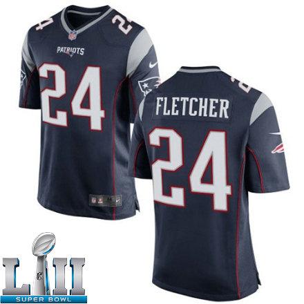 9f85e1e9 Youth Nike New England Patriots Super Bowl LII 24 Bradley Fletcher Game  Navy Blue Team Color