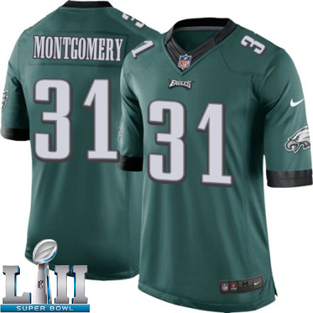 eb85f9928 Youth Nike Philadelphia Eagles Super Bowl LII 31 Wilbert Montgomery Elite Midnight  Green Team Color NFL