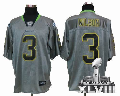 4a51040af Youth Nike Seattle Seahawks 3# Russell Wilson Lights Out grey elite 2014  Super bowl XLVIII