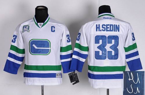 youth vancouver canucks 33 h.sedin c patch white signature 3rd jerseys
